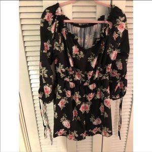 SHEIN Pink & Black Floral Romper NWOT